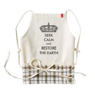 Seek Calm And Restore The Earth Zazzle HEART Apron