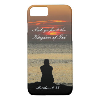Seek First Kingdom of God, Matthew 6, Ocean Sunset iPhone 8/7 Case