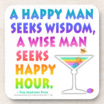 Seek Happy Hour Cork Coaster