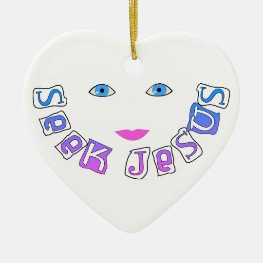 Seek Jesus face Christian Ceramic Ornament