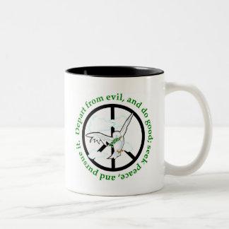 Seek peace and pursue it christian gift Two-Tone coffee mug
