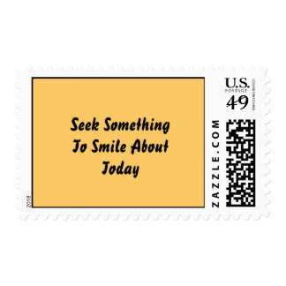 Seek Something To Smile About Today. Yellow Postage Stamp