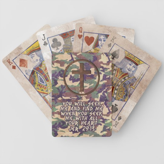 Seek With Your Heart - Jeremiah 29:13 Bible Verse Bicycle Playing Cards
