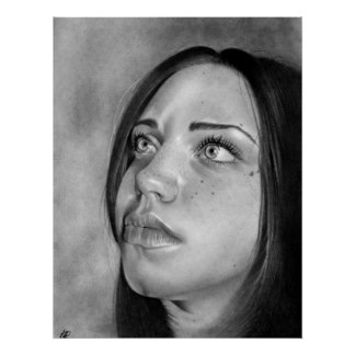 Seeking Guidance Girl Portrait Poster