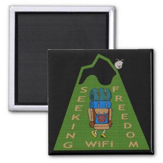 Seeking WiFi Freedom Hiker Design Magnet