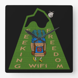 Seeking WiFi Freedom Hiker Design Square Wall Clock