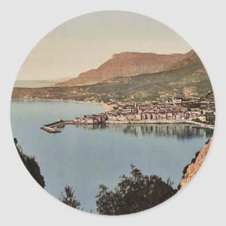 Seen from the cliffs, Mentone, Riviera classic Pho Round Stickers