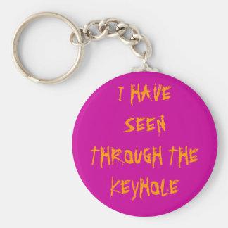seen through the keyhole basic round button keychain