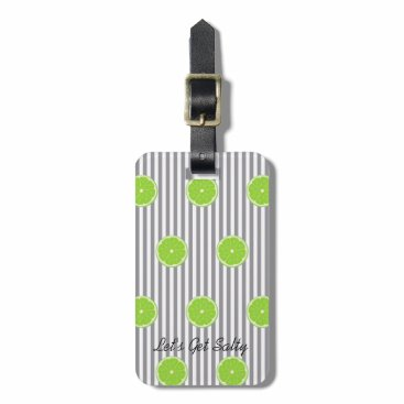 McTiffany Tiffany Aqua Seersucker And Limes Fiesta Party Luggage Tag
