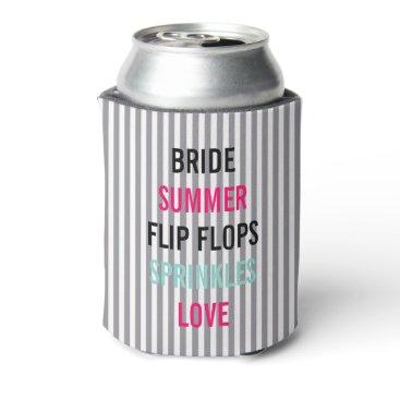 McTiffany Tiffany Aqua Seersucker Summer Bride Sprinkle Party Can Cooler
