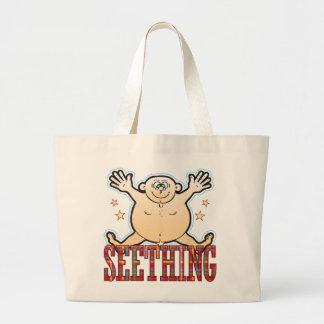 Seething Fat Man Large Tote Bag