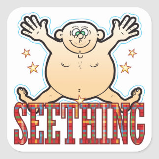 Seething Fat Man Square Sticker