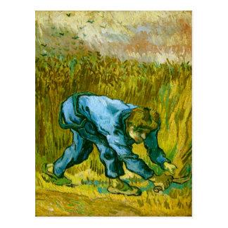 Segador con la hoz (después de mijo), bella arte tarjeta postal