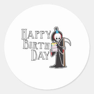 Segador del feliz cumpleaños pegatinas redondas