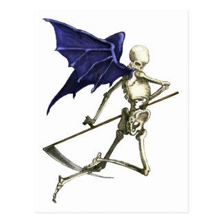 Segador en las alas oscuras de la muerte postal