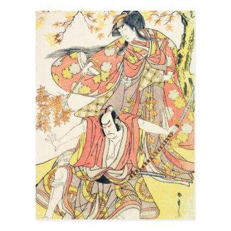 Segawa Kikunojo III como mujer Katsukawa Shunsho Postal