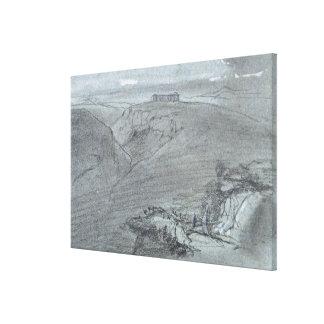 """Segesta, de """"vistas de Sicilia"""" (tiza y aguazo o Lona Envuelta Para Galerías"""