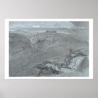 Segesta de vistas de Sicilia tiza y aguazo o Poster