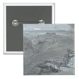 """Segesta, de """"vistas de Sicilia"""" (tiza y aguazo o Pin Cuadrada 5 Cm"""