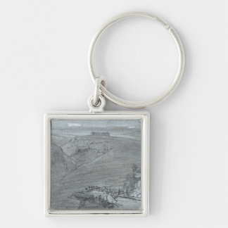 Segesta, from 'Views of Sicily' (chalk & gouache o Silver-Colored Square Keychain