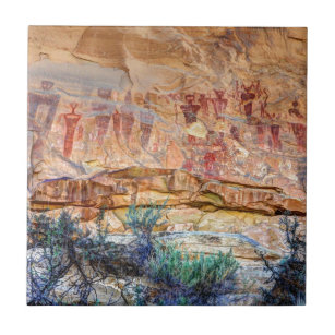 Sego Canyon Indian Pictographs - Utah Ceramic Tile