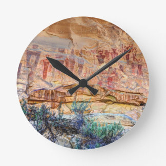 Sego Canyon Indian Pictographs - Utah Round Clock