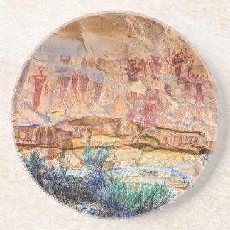 Sego Canyon Indian Pictographs - Utah Sandstone Coaster