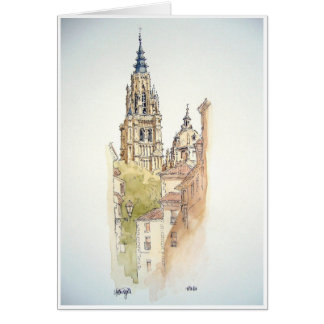 Segovia, Toledo. Watercolor painting Card