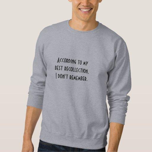 Según el mejor recuerdo, no recuerdo pulovers sudaderas