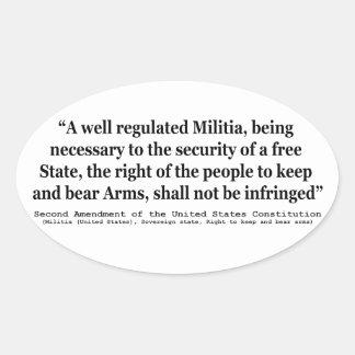 Segunda enmienda a la constitución de Estados Pegatina Ovalada