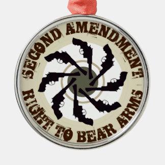 Segunda enmienda adorno redondo plateado