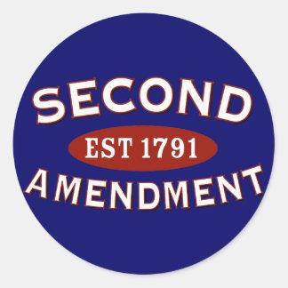 Segunda enmienda Est. 1791 Etiqueta Redonda