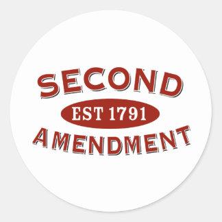 Segunda enmienda Est. 1791 Pegatina Redonda