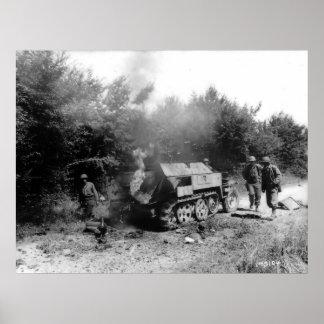 Segunda Guerra Mundial alemana ardiente de Francia Poster