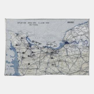 Segunda Guerra Mundial día D mapa 6 de junio de 19 Toallas De Cocina
