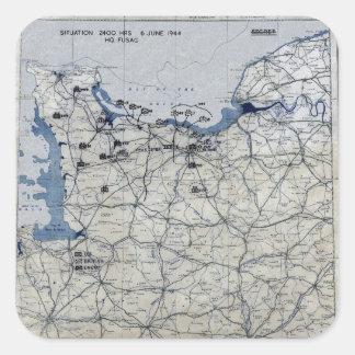 Segunda Guerra Mundial día D mapa 6 de junio de Pegatina Cuadrada