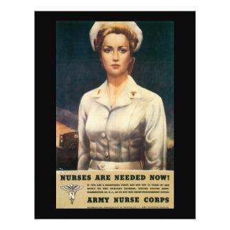 """Segunda Guerra Mundial necesaria de las enfermeras Folleto 8.5"""" X 11"""""""
