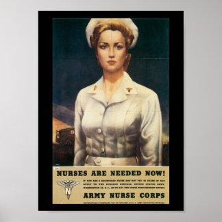 Segunda Guerra Mundial necesaria de las enfermeras Póster