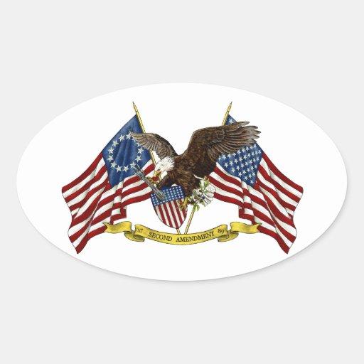 Segunda libertad Eagle de la enmienda Calcomania Óval Personalizadas