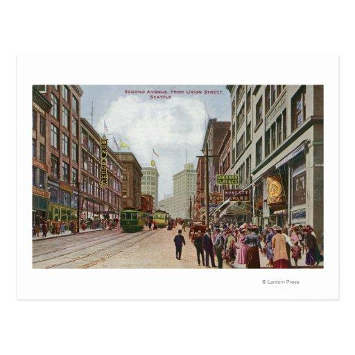 Segunda opinión de la avenida de la calle de la postal