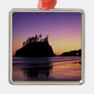 Segunda playa en el crepúsculo, NP olímpico, WA, Adorno Cuadrado Plateado