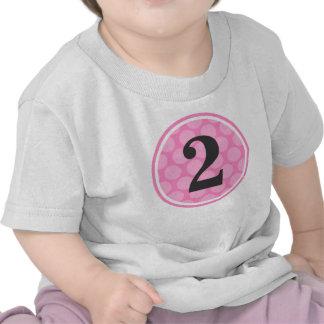 Segundo chica del cumpleaños del lunar rosado camisetas