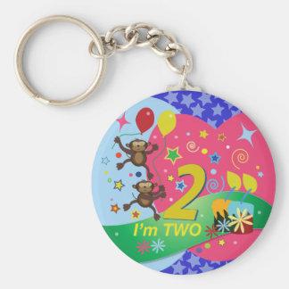 Segundo cumpleaños: Lindo y diversión, dos monos Llavero Redondo Tipo Pin
