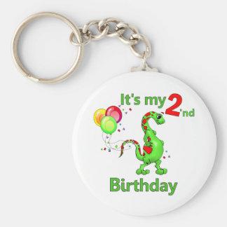 Segundo dinosaurio del cumpleaños llavero redondo tipo pin