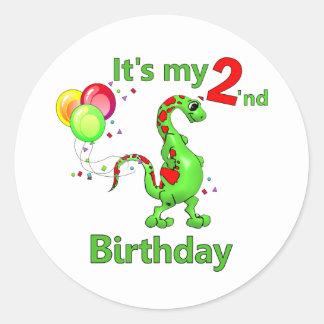 Segundo dinosaurio del cumpleaños etiquetas redondas