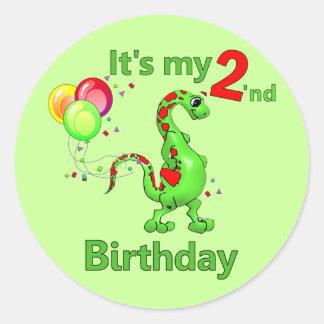 Segundo dinosaurio del cumpleaños etiqueta