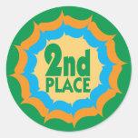 Segundo ganador de la cinta del lugar etiquetas redondas