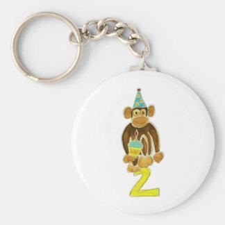 Segundo mono del cumpleaños llavero redondo tipo pin