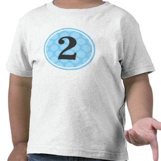 Segundo muchacho número 2 del cumpleaños del lunar camisetas