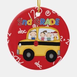 Segundo ornamento del navidad del profesor del adorno navideño redondo de cerámica